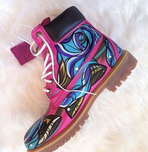 Painted pink timberland boots