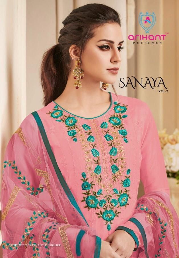 34bc6fc348 Arihant Designer Sanaya Vol 2 Designer Pure Opada Silk with Khatli Handwork  Dress Material Wholesaler Surat