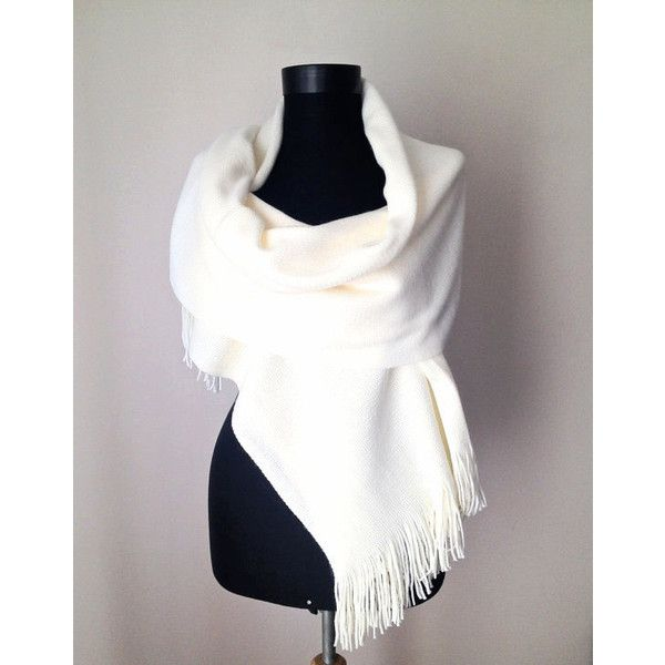 Winter Wedding, Ivory Winter Shawl, Cream Warm Scarf, Bone Knit Scarf,... (105 ILS) ❤ liked on Polyvore featuring accessories, scarves, wrap scarves, cream shawl, knit scarves, bridal shawl and wrap shawl