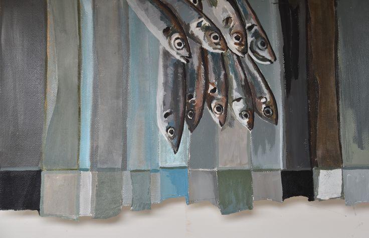 Vissen, acryl op papier (45 x 70)