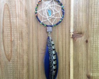 Fleur Dreamcatcher bleu et gris Dream Catcher par InspiredSoulShop