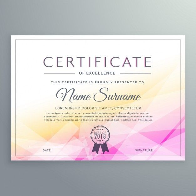 Yellow and pink polygonal certificate Free Vector