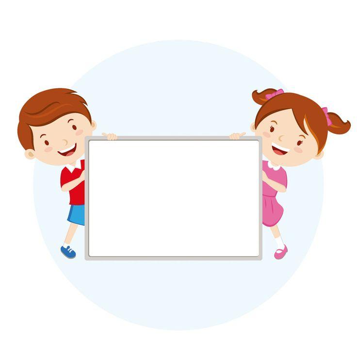 Children holding whiteboard
