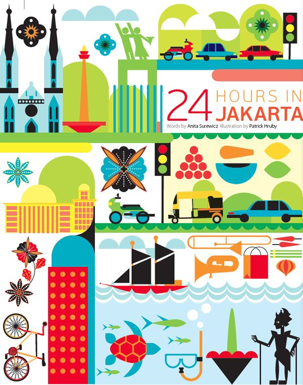 24 hours in Jakarta - Indonesia - Oryx In-flight magazine, illustration by Patrick Hruby