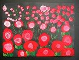 In our paintings we used large poppies in the front and small towards the back. This near/far perspective added depth. We also learned how t...