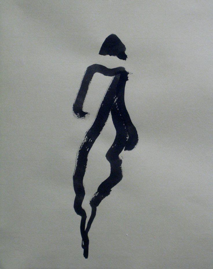 Kvinna med kappa och halsduk, tusch, 35x25cm