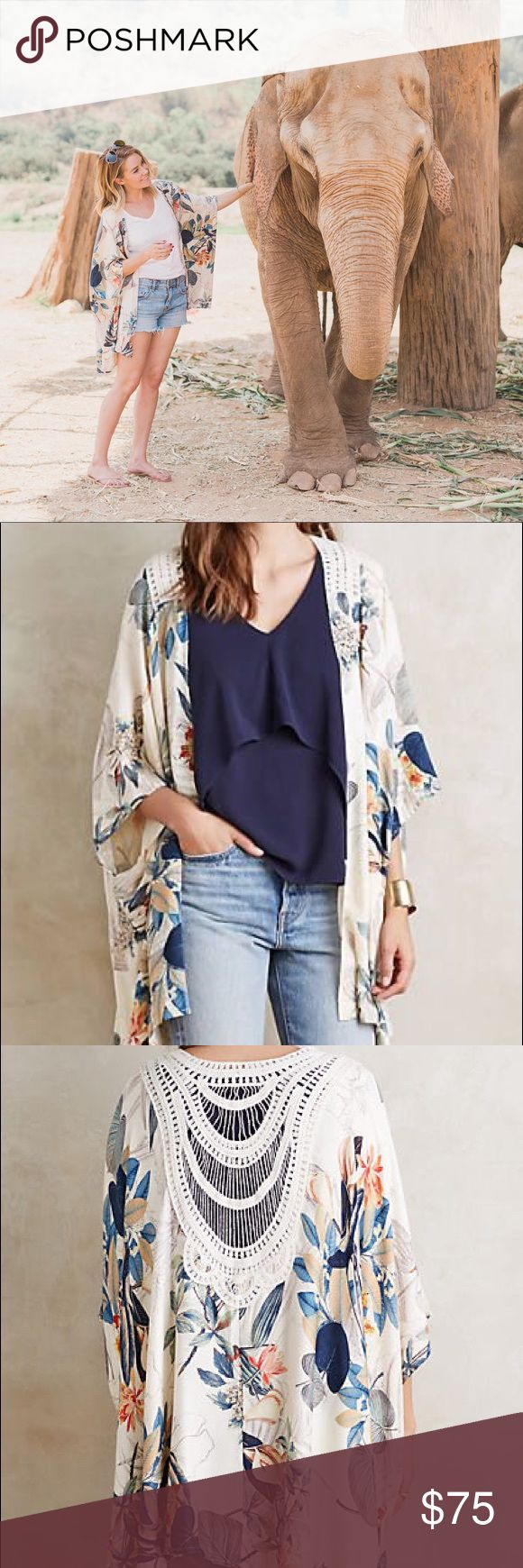 Anthropologie Raya Kimono NWOT. As seen on Lauren Conrad. SOLD OUT. Beautiful floral print cardigan with a crochet back. Anthropologie Sweaters Cardigans