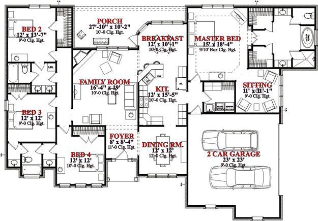 European Plan: 2,577 Square Feet, 4 Bedrooms, 3 Bathrooms - 1070-00143