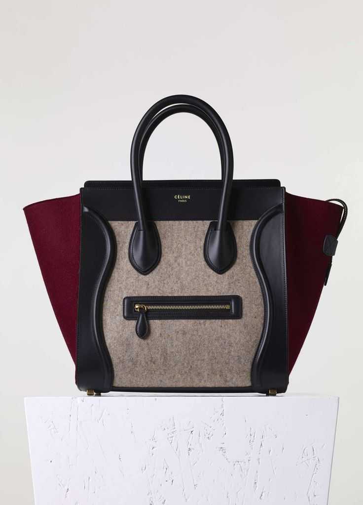 Micro Luggage Handbag in Beige Felt - Fall / Winter Collection ...