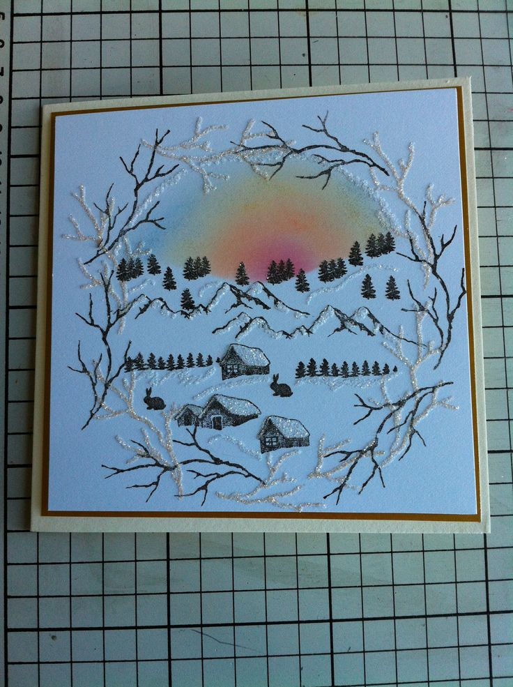 Christmas card I have made using a mixture of card-io Christmas stamps. I did the sunrise using ink pads and a dry baby wipe.