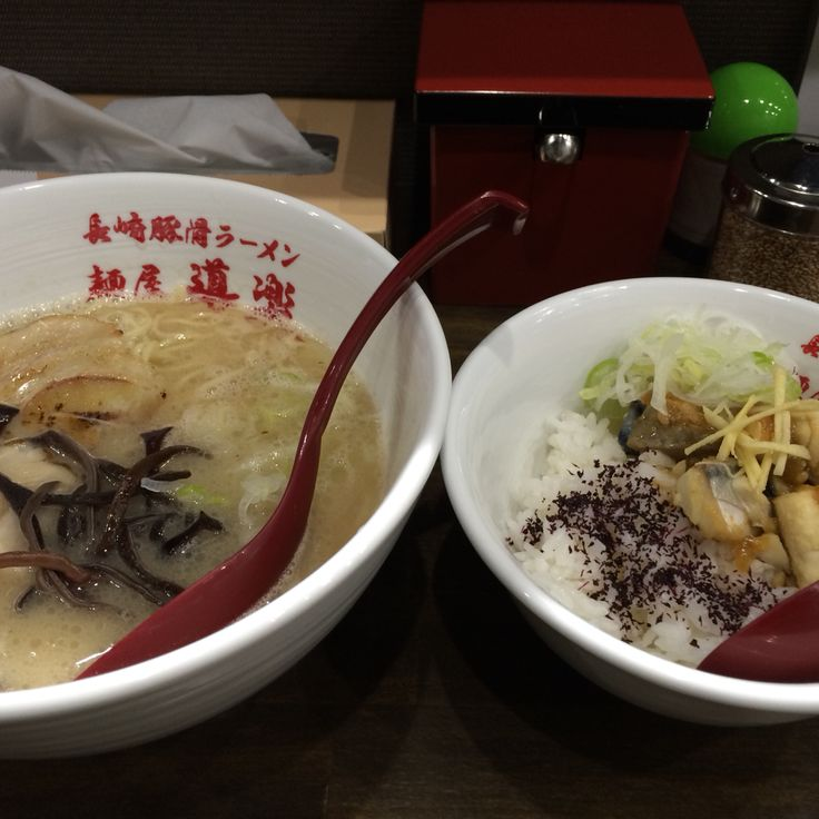"""The New-opened Ramen-ya in Nagasaki, which opened in Feb, in 2015. The Right of ramen is """"mackerel miso cooked"""". This ramen-ya's motif is Fish-Tonkotsu-Ramen. After you had the soup, the fish and Tonkotsu essence left in your mouth. That's good."""