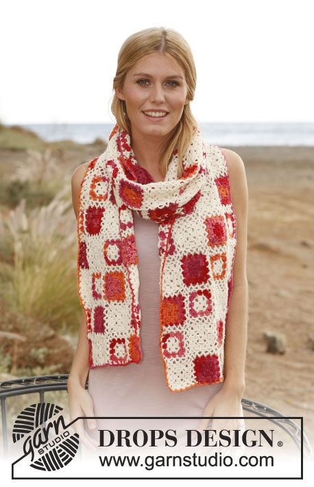 """Crochet DROPS scarf with squares in """"Fabel"""". ~ DROPS Design"""