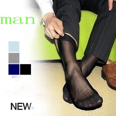 men stockings nylon silk transparent sock ultra-thin super sexy Gay sock Twill style men's socks  Male socks