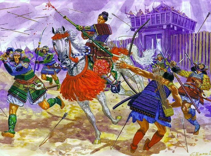 """Hangaku Gozen rides into battle at the siege of Torisaka Castle, 1201"""