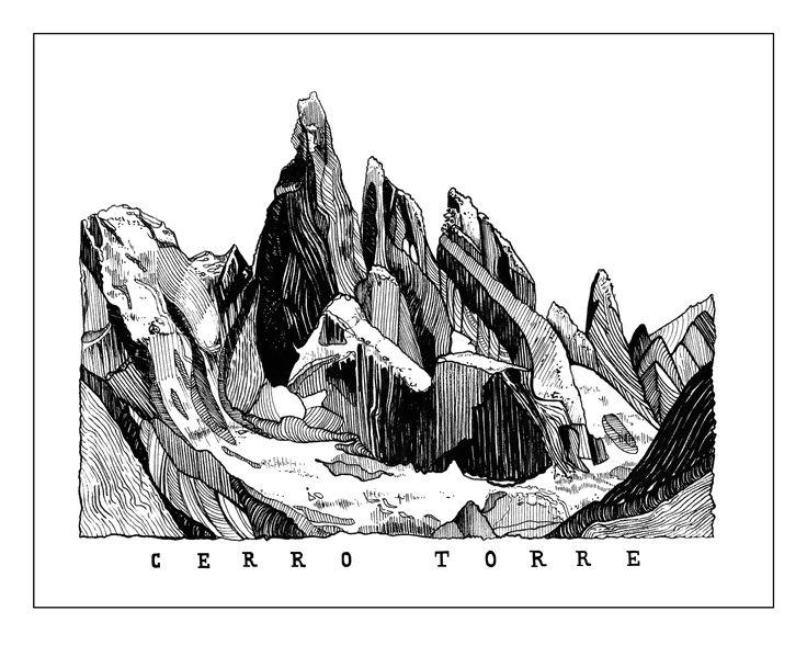 Cerro Torre in Patagonia Illustration