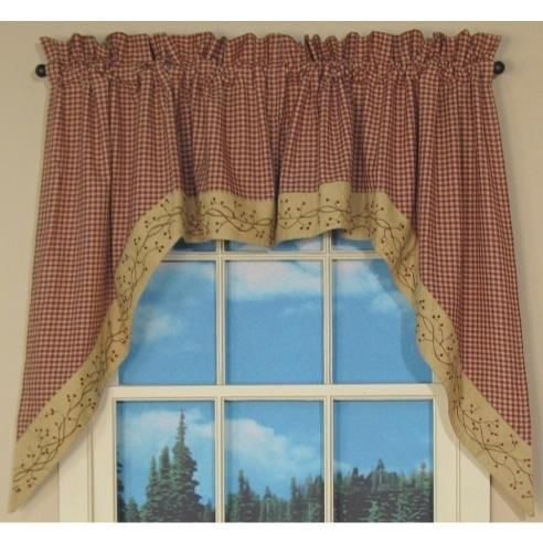 checker berry scalloped primitive valance with an embroidered berry vine on the scalloped layer wine and tan check under layer with tan on tan pattern on