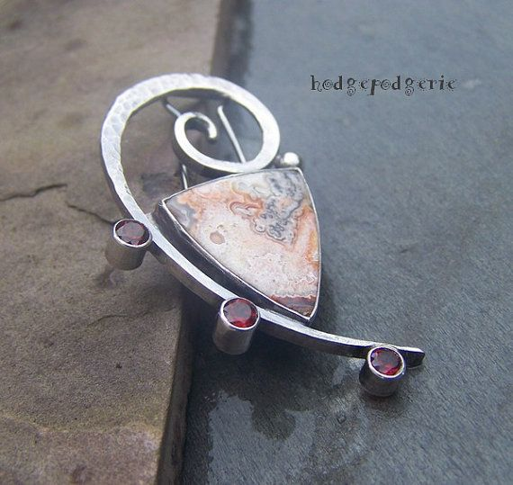 And...... ALL THAT JAZZ - Pin Brooch of Sterling with Crazy Lace Agate and Garnets