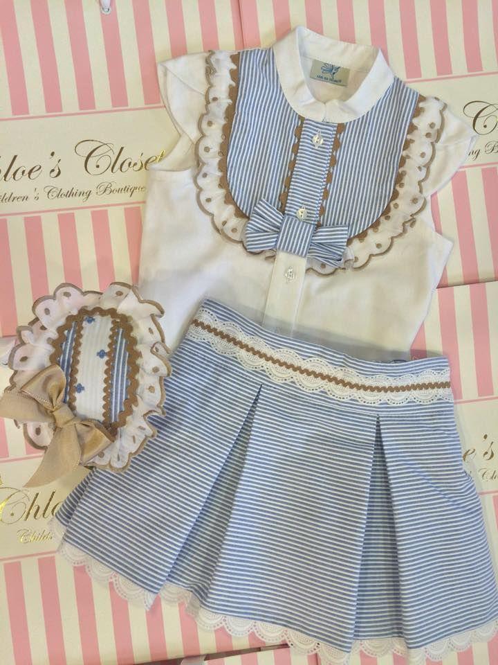 conjunto blusa canesú falda azul