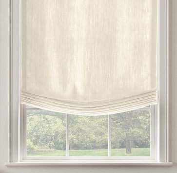 Belgian Textured Linen Relaxed Roman Shade, Optic White - traditional - roman blinds - Restoration Hardware