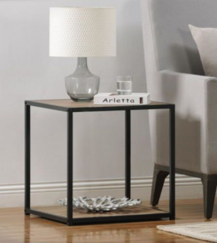 Contemporary End Table Metal Frame Sonoma Oak Wood Grain Finish Home Furniture