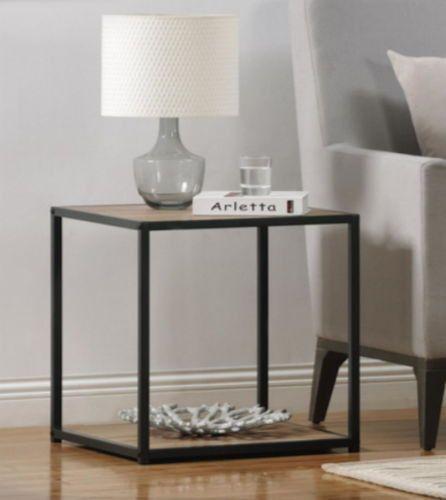 Contemporary End Table Metal Frame Sonoma Oak Wood Grain Finish Home Furniture