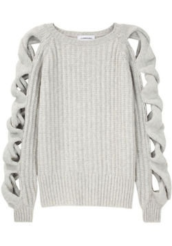 gray baggy sweater with arm detail