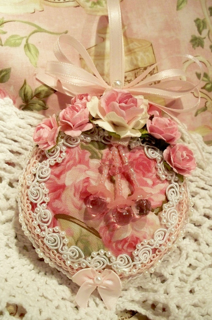 Rose christmas ornament - Chic Shabby Christmas Ornament Pink Cabbage Rose Fabric Pearls Venise Lace Ebay