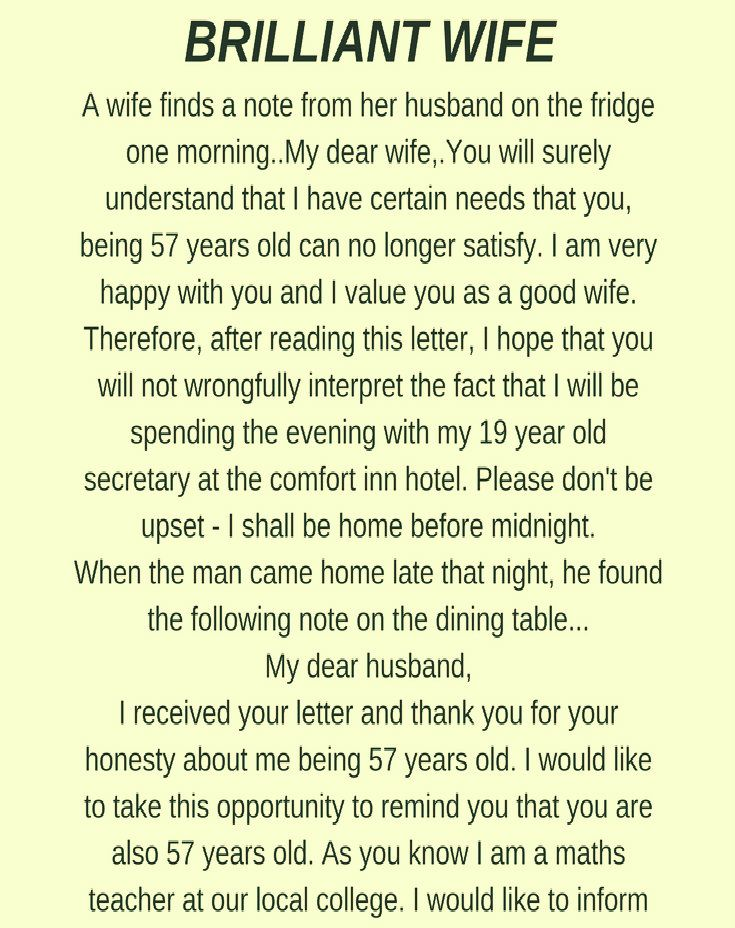 Brilliant Wife Funny Story Funny Wife Quotes Husband Quotes Funny Wife Memes Funny