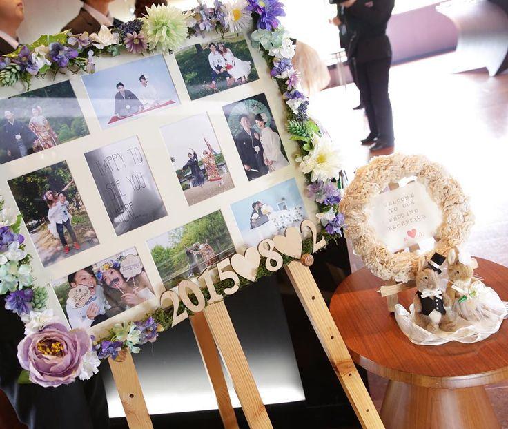 「今更ですが式場からのデータが届いたのでぼちぼちとpostしていきます◡̈ . #プレ花嫁卒業 #結婚式 #ウェルカムボード #ウェルカムドール #ウェルカムスペース」