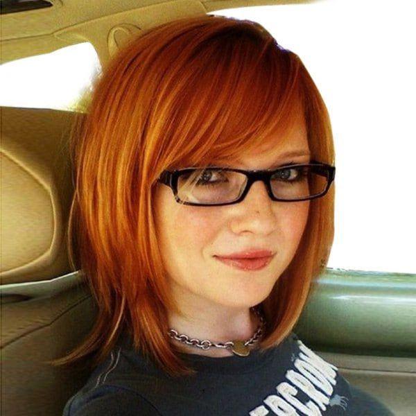 Medium Oblique Bang Straight Bob Human Hair Wig M+…