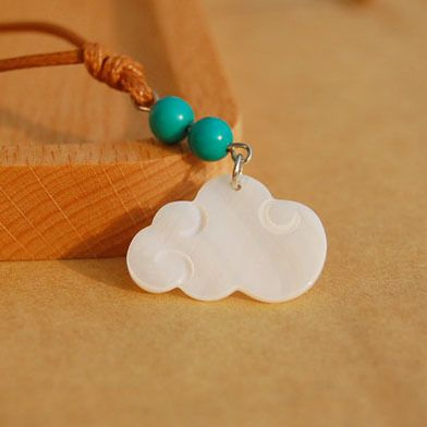 6 шт./лот оболочки изогнутые белое облако кулон ожерелья бирюзовый бусины воск шнур женщины этнические украшения ожерелья для костюма nxl011