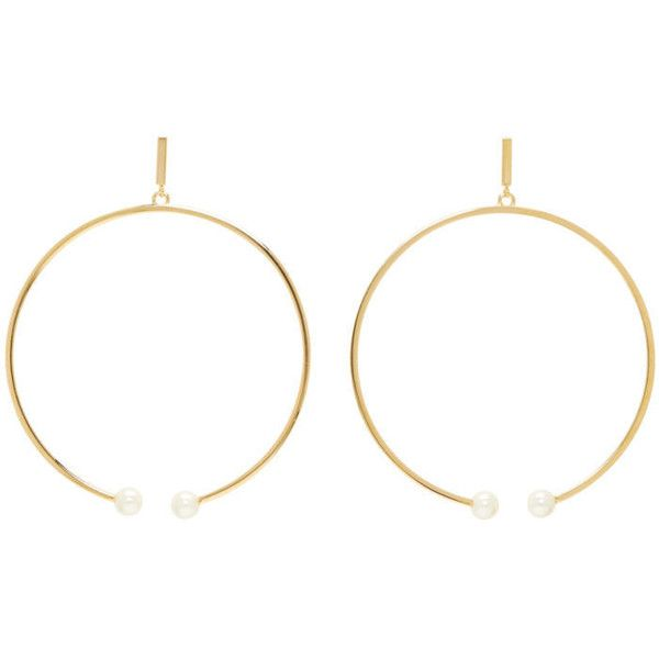 Chloé Gold Darcey Hoop Earrings ($355) ❤ liked on Polyvore featuring jewelry, earrings, gold, gold tone earrings, gold jewellery, chloe jewelry, chloe jewellery and yellow gold jewelry