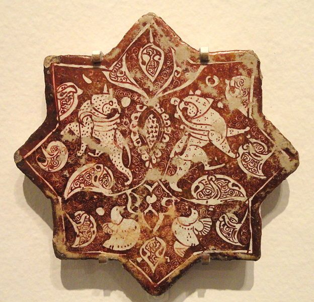 Star Tile with Griffins and Birds amid Arabesque, late 12th - early 13th century, Saljuq-Atabeg period, Kashan, Iran - Sackler Museum. CLICK to enlarge