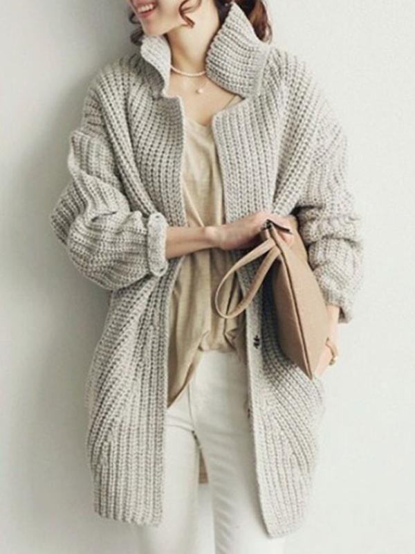 女性秋ファッション ニットアウター無地カーディガン 長袖糸コート