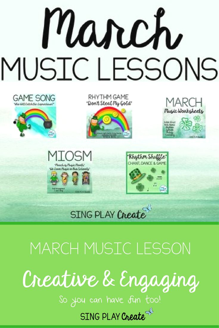 March Music Class Bundle: Songs, Games, Worksheets, and Lessons K-6 Celebrate MIOSM, Play a St. Patrick's Day Game Song, Play a crazy music notation and symbol game, dance, play rhythms and play orff instruments with this music class lesson bundle sure to please all students K-6. usiclesson #musiceducation # rhythmavtivities #musicandmovement