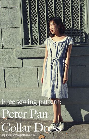 Free peter pan collar floral dress sewing pattern (pattern is in japanese, but here is an english translation)