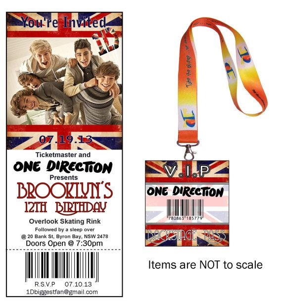 8 best 1d birthday party ideas images on pinterest one direction one direction birthday party vip vip ticket invitation and barcode backstage lanyard via etsy m4hsunfo