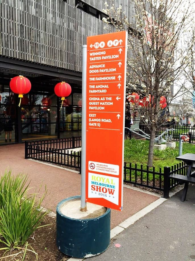 Wayfinding signage used in an outdoor festival.