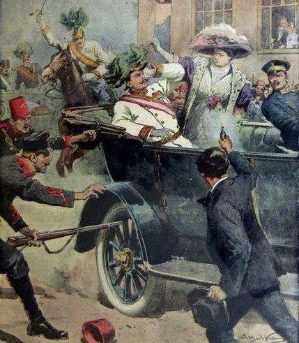 De aanleiding van WO1 was de moordaanslag in Sarajevo die door Gavrilo Princip op Franz Ferdinand werd gepleegd. Deze moordaanslag werd gepleegd omdat Princip vond dat de Serviërs van Bosnië bij Servië hoorden. De door Princip uitgevoerde moordaanslag mislukte en de Koning van O-H gaf Servië de schuld en verklaarde  Servië de oorlog. Dit leidde tot een kettingreactie bij de bondgenootschappen waardoor de oorlog begonnen was.