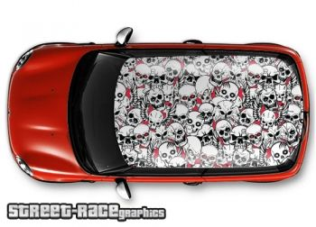 Skull stickerbomb - printed and laminated (air release) vinyl car roof graphics.