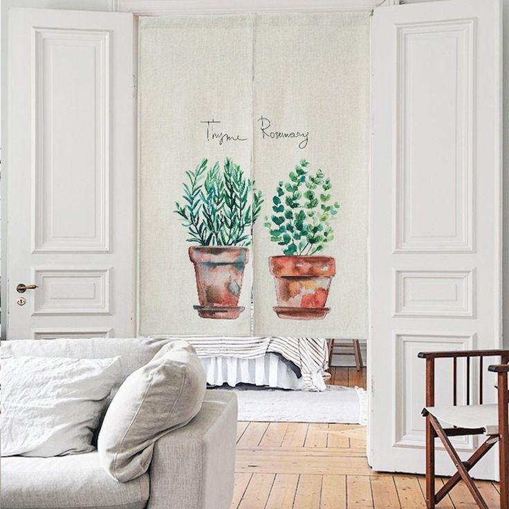 "Japanese Noren Doorway Curtain Tapestry 33.5"" Width x 47.2"" Long , Plants Friends"