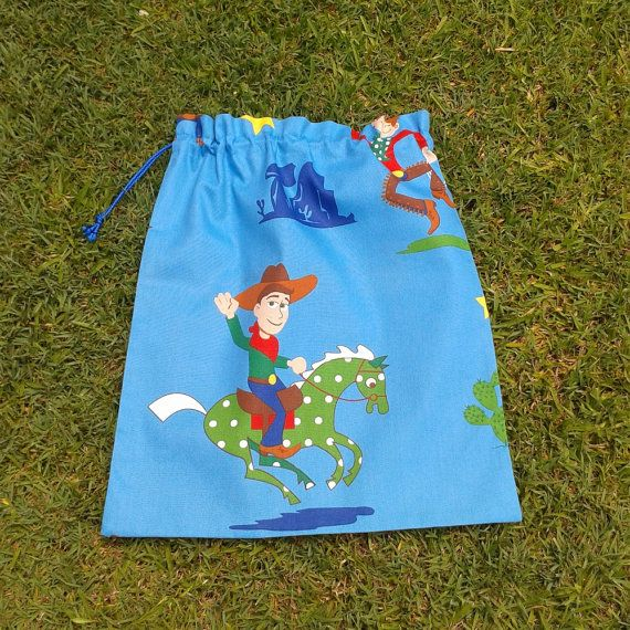 such a cool library bag! Perfect gift for someone starting school next year. Library bag large cotton drawstring bag cowboy for by LaughLand