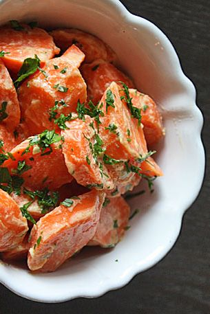 Steamed Carrots with Lemon-Tahini Dressing