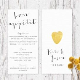 Modern yellow wedding menu bright watercolour spots | Peach Perfect Australia