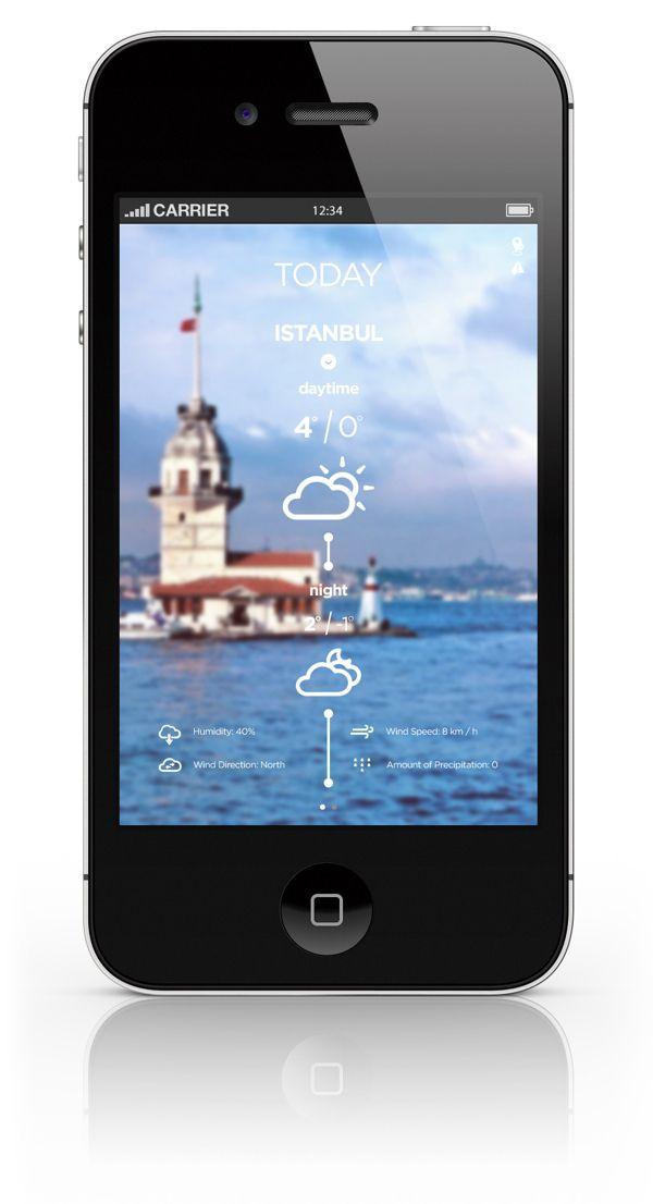 Weather Forecast iPhone App by Nesil AKSOY, via Behance