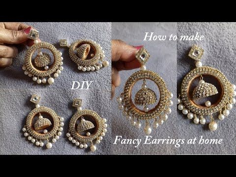 DIY || How To Make Designer Fancy Bridal Earrings at Home || Bridal Jhumka Earrings Tutorial - YouTube