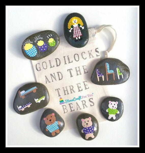 Goldilocks & The 3 Bears Story Stones by StoneCraftForYou on Etsy