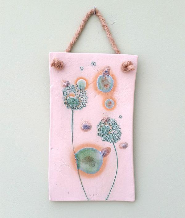 Mint Green Dandelions Ceramic Plaque