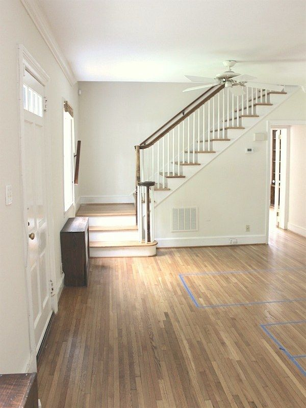 No Foyer Entry We Walk Straight Into The Living Room Stairs In Living Room Entry Foyer Blue Interior Doors Small living room no entryway