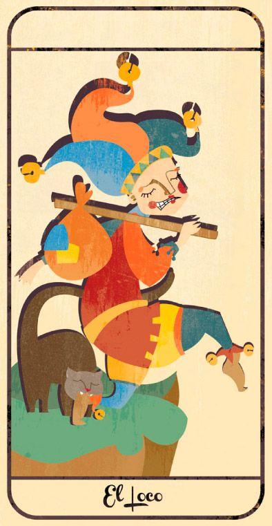 El Loco: naipe de un Tarot infantil para niños pendiente de editar; La maqueta del mismo (un libro tutorial ilustrado cuya contraportada en forma de caja guarda en su interior las cartas) se puede visitar en el Museo del Tarot de Bélgica del coleccionista de Tarot Guido Gillabel. Autora Elena Catalán